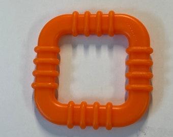 ORANGE SQUARE Ring // Pack of 5 Baby Teething Toy // Handmade Baby / Teething Rings // Quiet Book // Lovey security Blanket