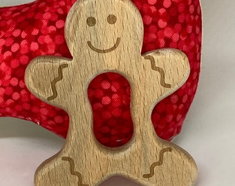 GINGERBREAD Man <11> Holiday Christmas Wood Shape / Wood Animal Shapes / Wooden Teether  Animal Toys // Beech Wood Baby // Eco Friendly