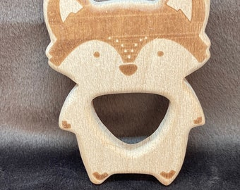 beech wood FOX  ENGRAVED <67> forest animal friend //  Baby Teething Toy