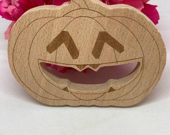 Beech Wood PUMPKIN <41> Halloween Wood Shape // Natural Wood Teether // Baby Teether // Pretend play