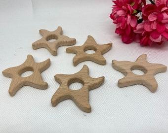 wavy STARFISH <82> beach summer ocean friend Wood Shape Baby Teething Toy