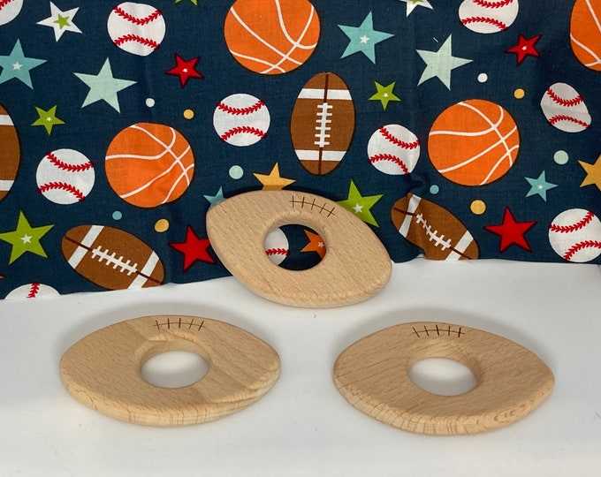 Featured listing image: beech wood FOOTBALL <76> sports ball // baby teething toy