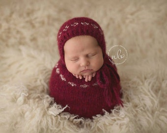 Newborn Swaddle Sack, Photo Prop, Red & Cream, Christmas Prop