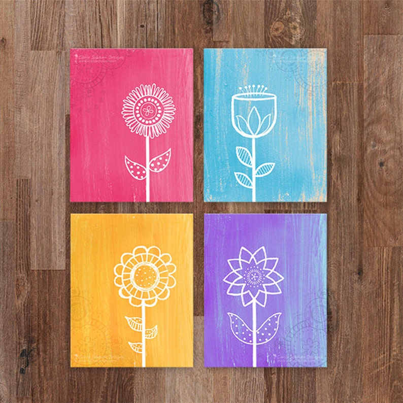 Whimsical Flower Printable Art Modern Flower Art Print Set image 0
