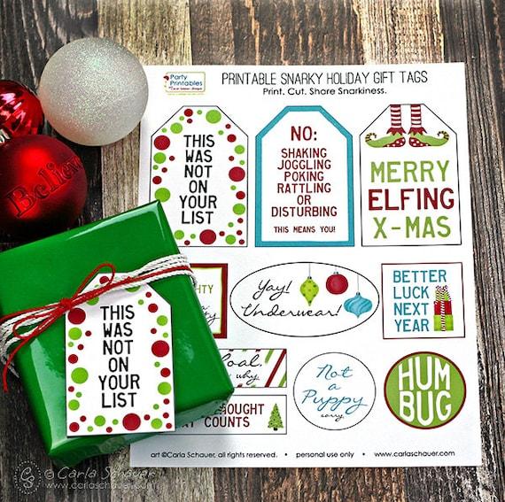 Snarky Christmas Gift Tags Funny Holiday Gift Tags Printable   Etsy