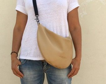 Beige hobo bag/bag/Crossbody beige hobo bag/Shoulder bag/Minimal leather bag/Medium leather bag /Lara Klass bag