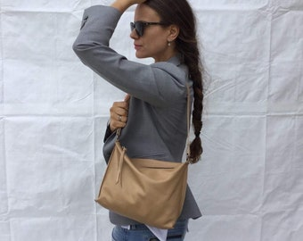 Leather medium Bag/Beige  leather tote/ Crossbody bag/ Medium bag By Lara Klass