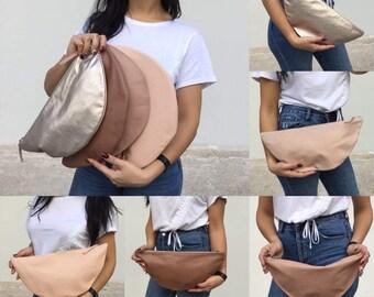 Leather clutch/Minimal clutch/ Medium Nude Pallet Clutches