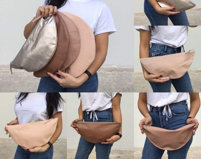 Leather clutch/Minimal clutch/ Medium Nude Pallet Clutches