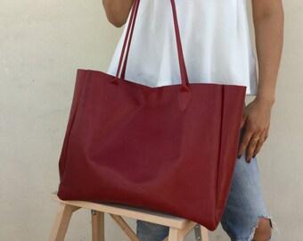 Leather Cherry bag , Tote bag , Minimal Bordeaux bag