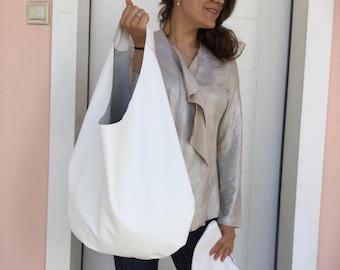 Leather bag/ White leather hobo/ Leather hobo bag/ Medium hobo / Minimal leather bag