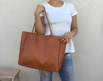 Leather bag/ Camel leather bag/ Brown tote bag/ Large Leather/ Tote