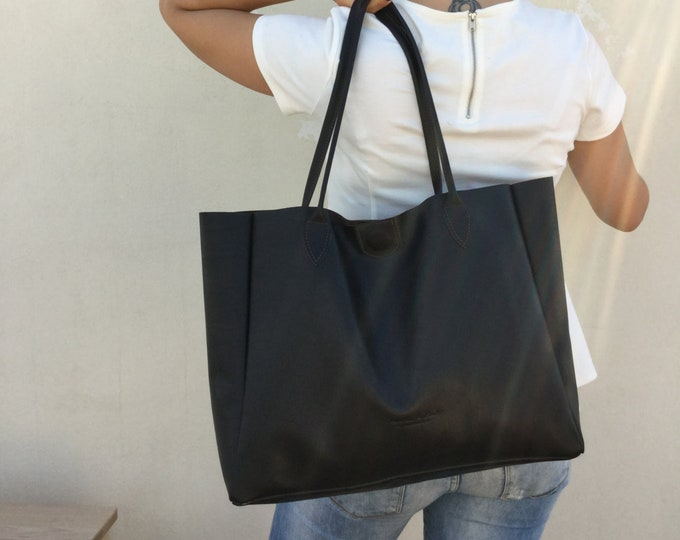 Tote leather woman, Large tote bag, Tote leather bag, Brown leather bag , Women's handbag, Shopping bag