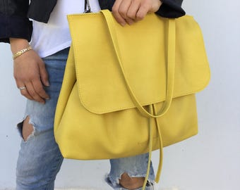 Leather shoulder bag/ Yellow tote leather bag/ Crossbody leather bag