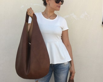 Hobo leather bag/ Oversized hobo bag/ Leather hobo bag/ Brown Hobo bag