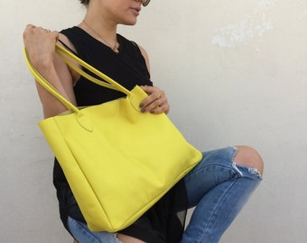 Yellow leather bag , Leather tote bag , Women bag
