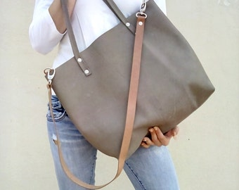 Leather bag, large leather bag, Gray Olive leather bag,  Modern laptop bag