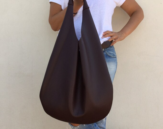 Leather bag/ Hobo leather bag/ Bordeaux hobo bag/ Medium hobo bag