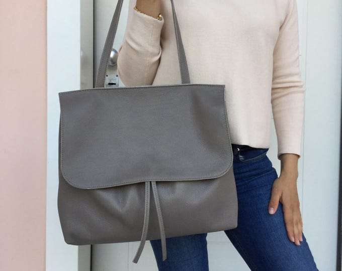 Leather tote bag/ Gray Leather bag/ Shoulder Tote bag/Crossbody  Leather tote