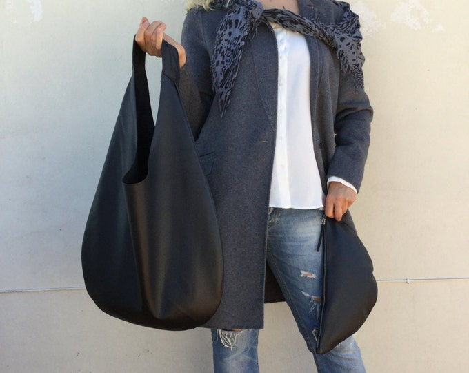 Hobo Leather bag/ Leather Hobo bag/ Black leather bag/ Medium hobo bag