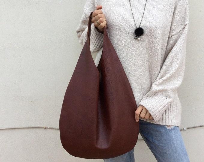 Leather bag/ Medium Leather bag/ Brown leather bag/ Black Leather Shoulder hobo bag/ Hobo bag