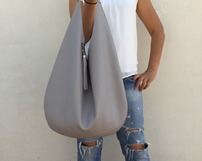 Leather bag/ Medium Leather bag/ Gray leather bag/ Grey hobo bag/ Shoulder Hobo leather bag