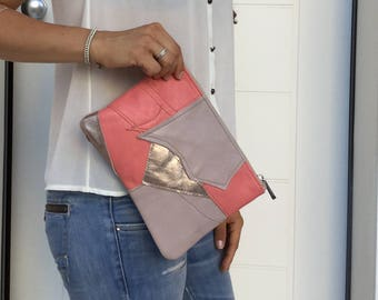 Leather  Patchwork Clutch/ Peach Nude pink metallic leather clutch/ Zipper leather clutch
