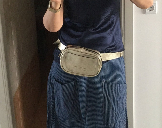 Gold metallic Waist bag with adjustable belt , Leather Golden Waist bag with belt and zipper.