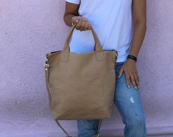 Leather bag/ Beige Leather bag/ Large tote bag/ Woman bag