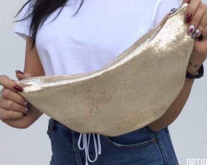 Gold Leather clutch/ Minimal clutch/ Large Autumn Pallet Clutches