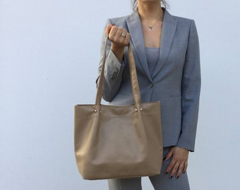 Beige leather tote/ Tote leather bag/ Shoulder bag/ Everyday bag