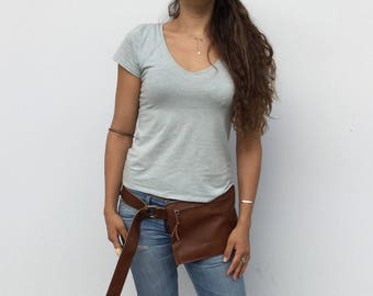 Leather Waist bag/ Brown leather zipper waist bag