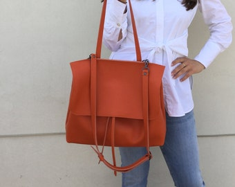 Shoulder leather bag/ Orange leather bag/ Cross-body leather bag