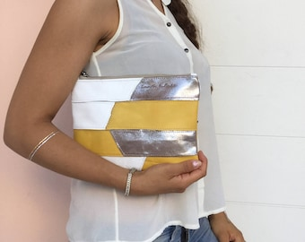 Leather Patchwork clutch/ Metallic white Yellow leather clutch/ Zipper leather clutch