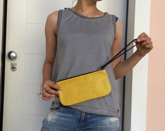 Lleather clutch bag/ Yellow zipper clutch/ leather clutch handle and zipper
