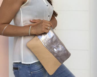 Leather Patchwork clutch/ Beige Metallic leather clutch/ Zipper leather clutch bag