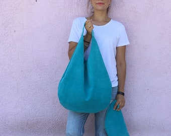 Leather hobo bag/ Turquoise leather bag/ Leather  hobo bag/ Oversized hobo bag