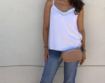 Waist Bag Leather Pink Stamped bag adjustable belt , Leather Golden Waist bag with belt and zipper.