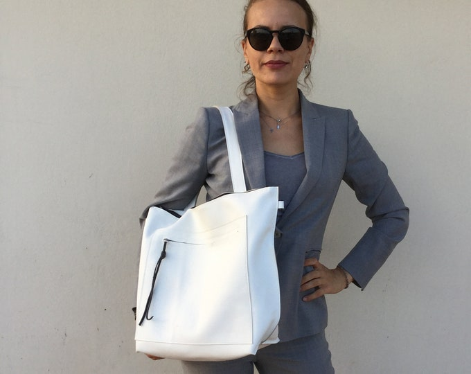 Leather Bag/ White leather Tote/ Large leather shoulder tote / Woman s Leather Crossbody Bag
