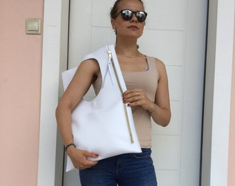 Leather tote leather/ Asymmetric leather tote/ Leather White tote/Gift for her