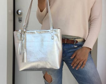 Silver leather tote Bag/ Everyday leather tote/ Medium shoulder leather bag / Silver tote and crossbody bag