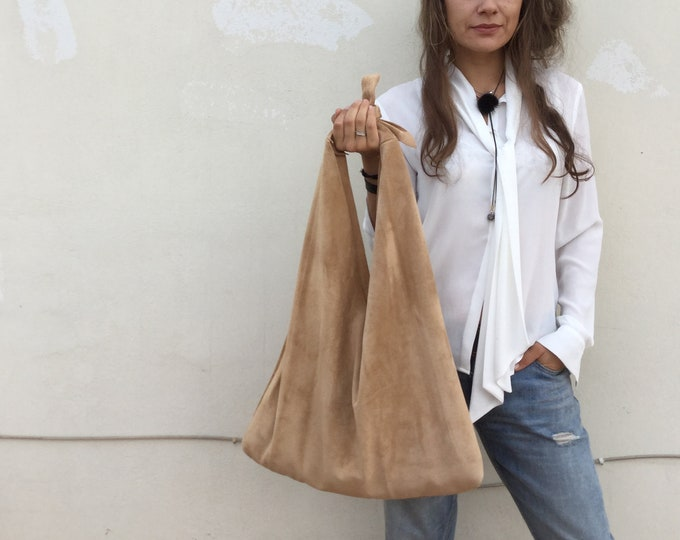 Featured listing image: Beige Suede Oversized Leather angle hobo bag, Beige suede Large Hobo , Bow hobo bag