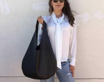 Black Leather bag/ Leather hobo bag/ Oversized hobo bag/ Black leather bag