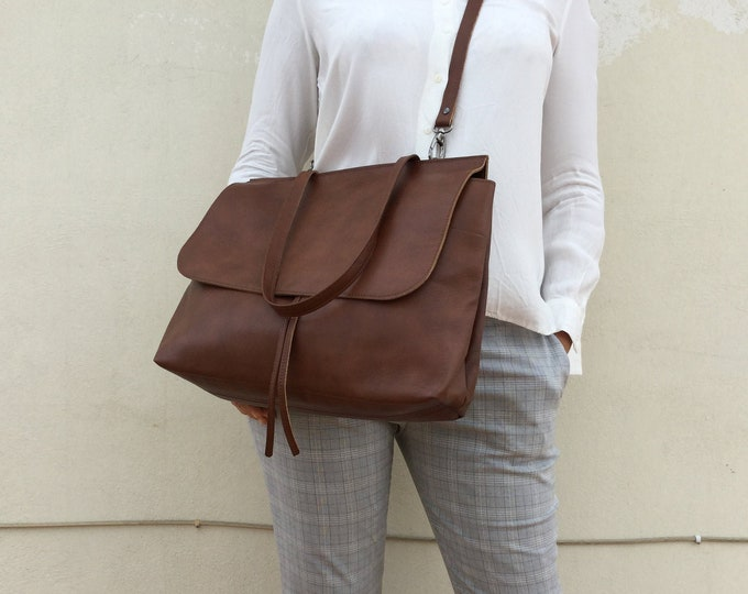 Tan leather tote/ Brown distressed leather bag/ Cross-body leather bag