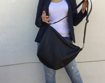 Leather hobo Bag/ Black leather bag/ Crossbody leather bag/ Black leather Tote