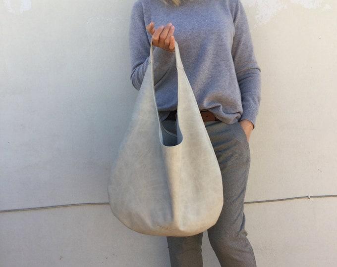 Hobo leather bag/  Ecru leather hobo/  Oversized hobo bag
