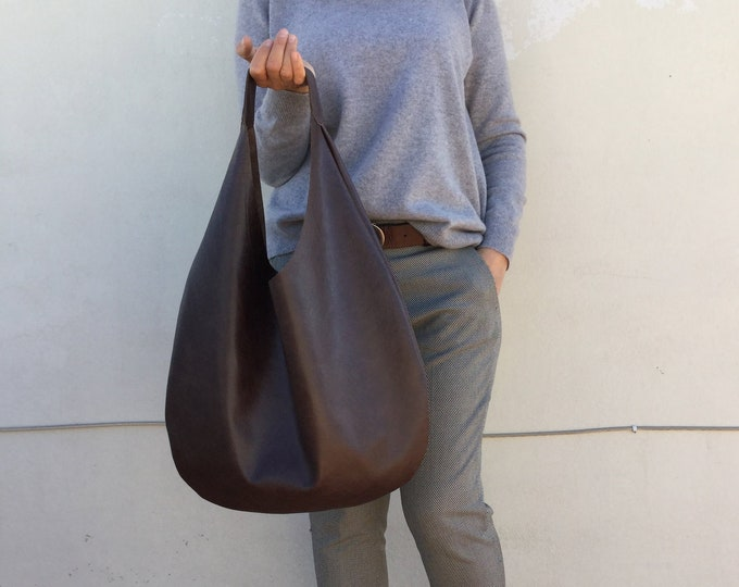 Hobo leather bag/ leather hobo/Chocolate  Brown Shoulder leather bag/ Medium hobo bag