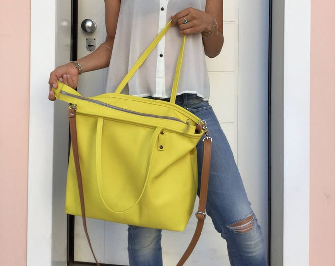 Leather tote bag/Yellow bag/Shoulder bag/Crossbody leather bag/ Minimal bag