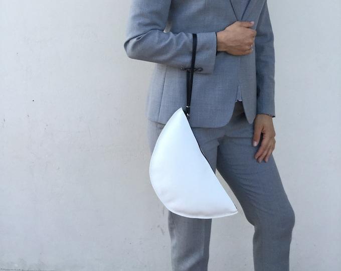 Leather Clutch/ White Leather Clutch/ Minimal clutch bag