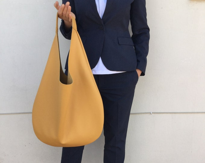 Leather bag/ Medium bag/ Hobo leather bag/ Mustard leather bag/ Yellow leather hobo